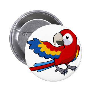 Red parrot illustration pinback button