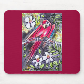 red parrot mouse pad