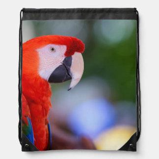 Red Parrot Photograph Drawstring Bag