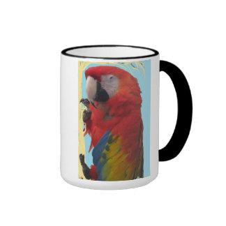 Red Parrot Ringer Mug