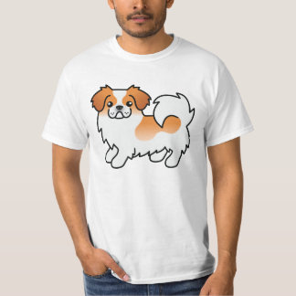 Red Parti-color Tibetan Spaniel Cartoon Dog T-Shirt