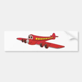 Red Passenger Jet Cartoon Bumper Sticker
