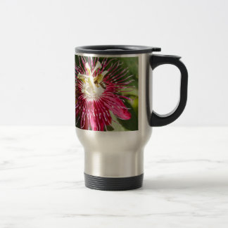 Red Passion Flower with Bee Travel Mug