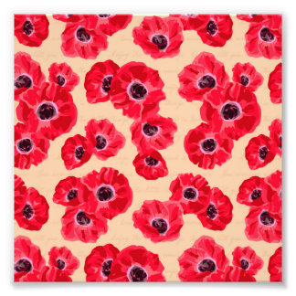 Red Passion Flowers Pattern Photo
