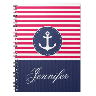 Red Pattern Blue Anchor Personalized Name Spiral Notebook