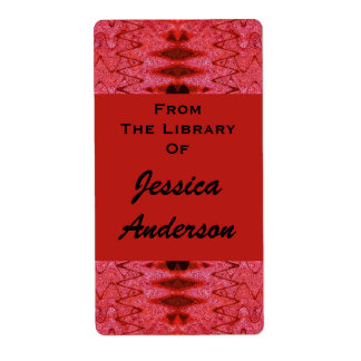 red pattern bookplates