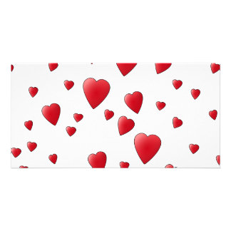 Red Pattern of Love Hearts. Photo Cards