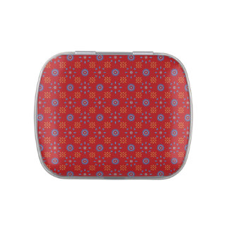 Red Patterned Jelly Bean Tin Candy Tins