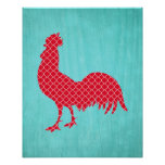 Red Patterned Rooster Silhouette Poster