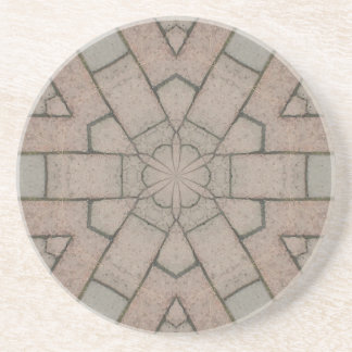 red pavers gardners kaleidescope abstract art coaster