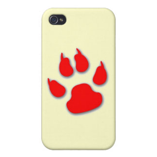 Red Paw iPhone Case Covers For iPhone 4