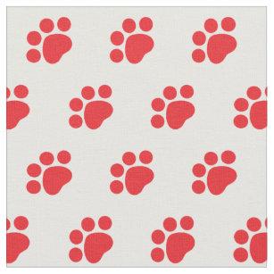 Red Paw Print Pattern Fabric