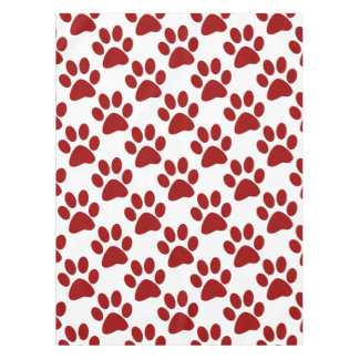 Red Paw Print Tablecloth