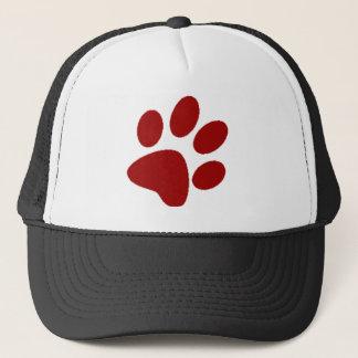 Red Paw Print Trucker Hat