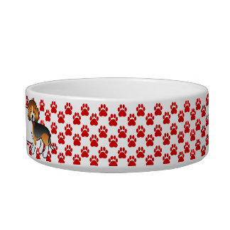 Red Paws Tricolor Beagle And Dog's Own Name Bowl