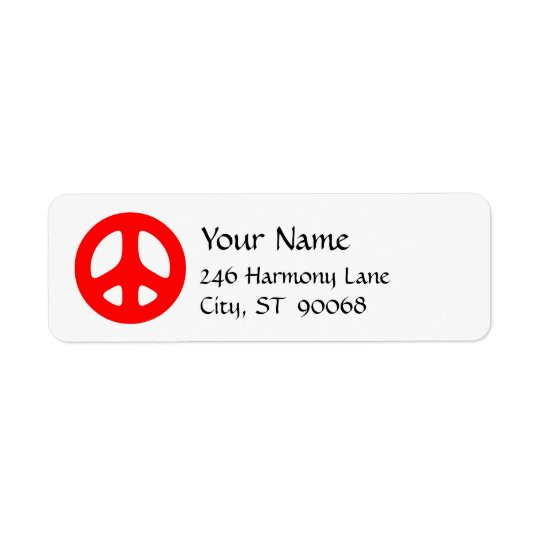 Red Peace Sign Custom Return Label