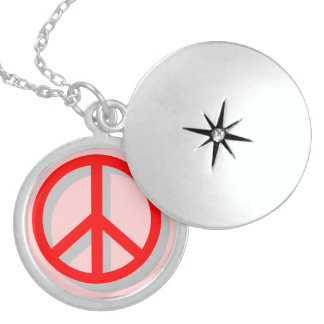 Red Peace Sign Pendant