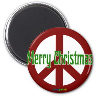 Red Peace sign with Merry Christmas 6 Cm Round Magnet