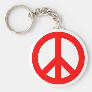 Red Peace Symbol Keychains