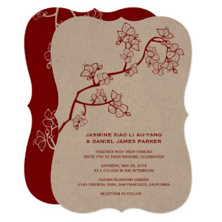 Red Peach Blossoms Sakura Chinese Wedding Invite