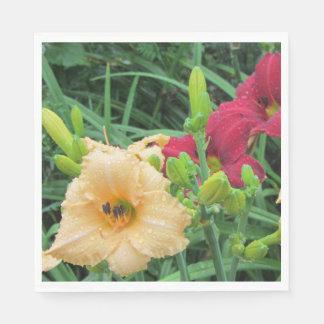 Red Peach Rainy Day Daylilies Paper Napkin