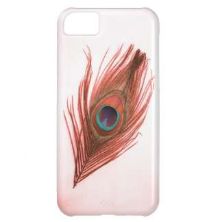 Red Peacock Feather on White iPhone 5 Barely There iPhone 5C Case