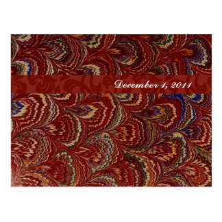Red Peacock Feathers Save the Date Postcard