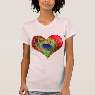 Red Peacock Heart T-Shirt