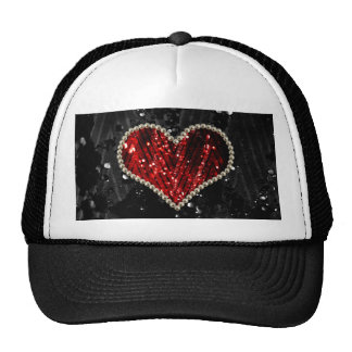 Red Pearl Heart Cap