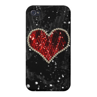 Red Pearl Heart iPhone 4 Covers