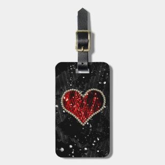 Red Pearl Heart Luggage Tag