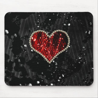 Red Pearl Heart Mouse Pads