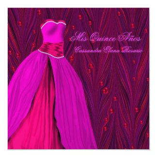 """Red Pearls Fuchsia Dress Hot Pink Quinceanera 5.25"""" Square Invitation Card"""