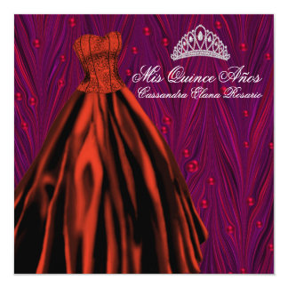 """Red Pearls Red Dress Purple Red Quinceanera 5.25"""" Square Invitation Card"""