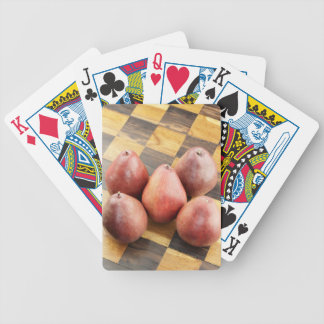 Red Pears on a Wooden Chess Board Bicycle Playing Cards