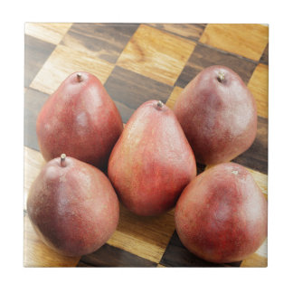 Red Pears on a Wooden Chess Board Ceramic Tile