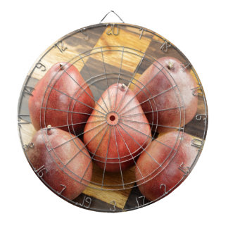 Red Pears on a Wooden Chess Board Dartboard