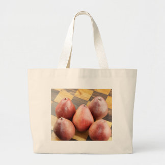 Red Pears on a Wooden Chess Board Large Tote Bag