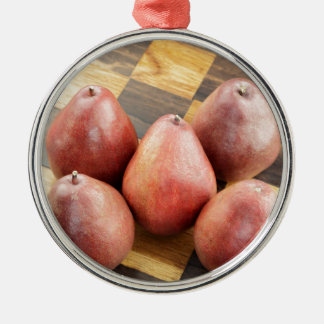 Red Pears on a Wooden Chess Board Metal Ornament