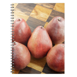 Red Pears on a Wooden Chess Board Notebook