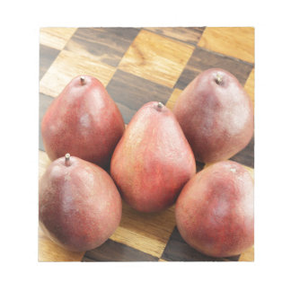 Red Pears on a Wooden Chess Board Notepad