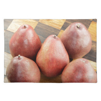 Red Pears on a Wooden Chess Board Placemat
