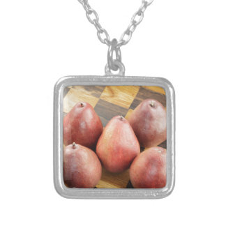 Red Pears on a Wooden Chess Board Silver Plated Necklace