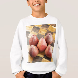 Red Pears on a Wooden Chess Board Sweatshirt