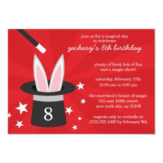 Red Peek-a-Boo Rabbit Custom Magic Birthday Party 13 Cm X 18 Cm Invitation Card