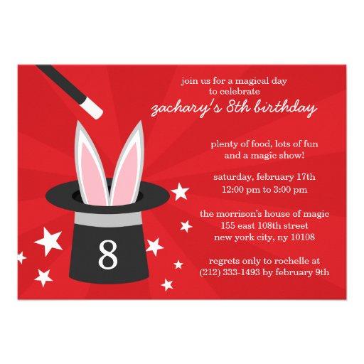 Red Peek-a-Boo Rabbit Custom Magic Birthday Party Personalized Invitations
