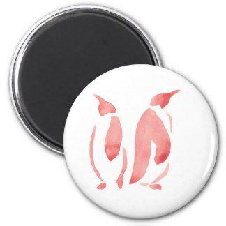 Red Penguin Pair 6 Cm Round Magnet