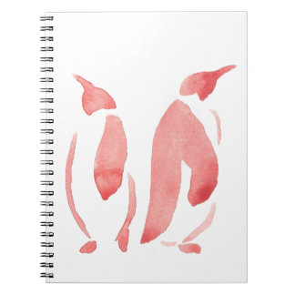 Red Penguin Pair Spiral Notebook