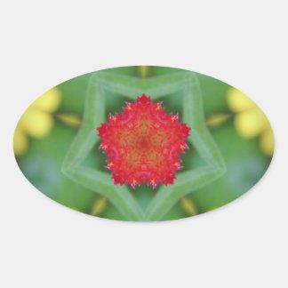 Red Pentagon Flower Oval Sticker