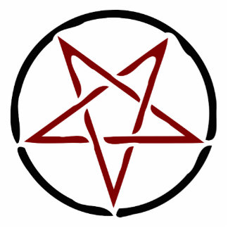 Red Pentagram Standing Photo Sculpture